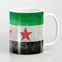 "islam Mugs featuring The Syrian ""independence flag""  retro style version by Bruce Stanfield"