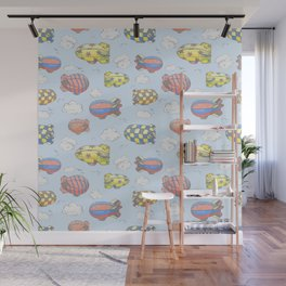 Hand drawn vector vintage seamless pattern with cute little airchips with strips, stars, dots and sq Wall Mural