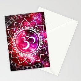 Ohm Mandala : Galaxy Mandala Red Fuchsia Pink Stationery Cards