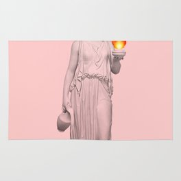 lady with fire Rug