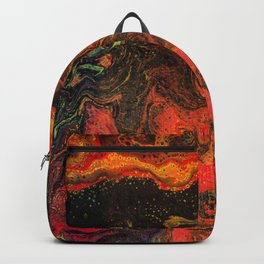 Dirty Acrylic Pour Painting 10, Fluid Art Reproduction Abstract Artwork Backpack