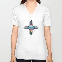southwest V-neck T-shirts featuring Southwest Dawn by Rebecca L. Davis