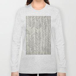 Herringbone Black on Cream Long Sleeve T-shirt