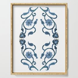 Blue Paisley Double Heart 1 Serving Tray