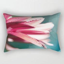 Nature's Dreaming - pink gerbera macro with mint / aqua bokeh Rectangular Pillow