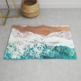 Aerial Beach Turquoise Rug