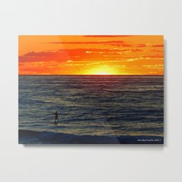 Paddle Boarding at Sunset Metal Print