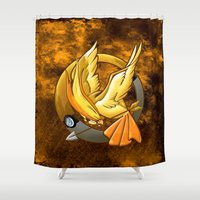 mockingjay Shower Curtains featuring Pokegame Yellow Phoenix mockingjay iPhone 4 4s 5 5c, ipod, ipad, tshirt, mugs and pillow case by Three Second