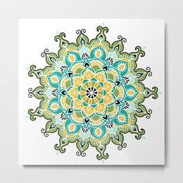 Mandala: Green and Blue Metal Print