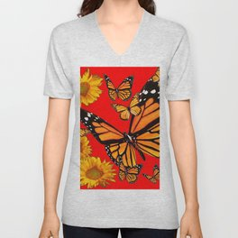 BUTTERFLIES & GOLDEN SUNFLOWERS ON CHINESE RED Unisex V-Neck