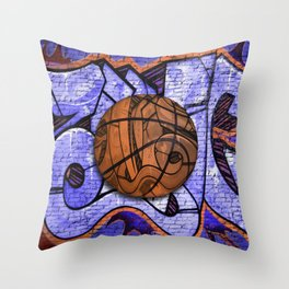 Purple Basketball Graffiti on Brick Wall Throw Pillow
