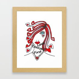 Love Yourself First - Typography Framed Art Print