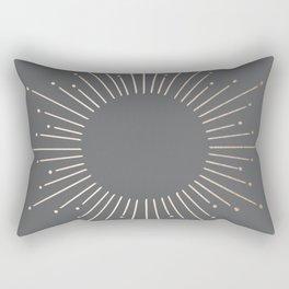 Simply Sunburst in White Gold Sands on Storm Gray Rectangular Pillow