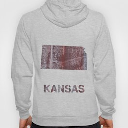 Kansas map outline Gray red clouded aquarelle Hoody