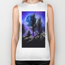 NEBULA STARS MOON BLACK TREES MOUNTAINS VIOLET BLUE Biker Tank