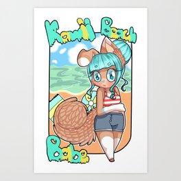 Kawaii Beach Babe Art Print