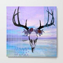 SkullandFlowerCrown Metal Print