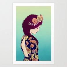 Yellow Garden Lady Art Print