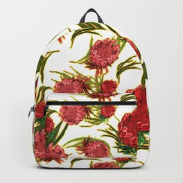 Eucalyptus Leaves and Protea Flowers Backpack