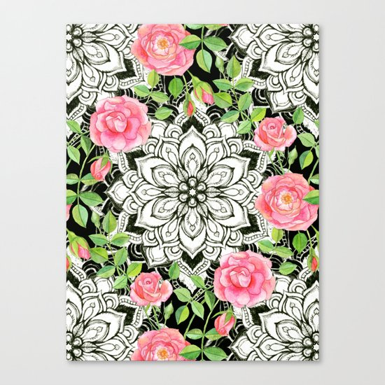 Peach Pink Roses and Mandalas on Black and White Lace Canvas Print