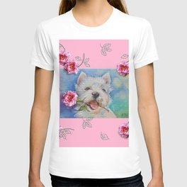 Westie puppy & Rose flower - For Jennifer T-shirt