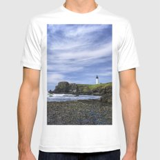 Yaquina Lighthouse Mens Fitted Tee White MEDIUM
