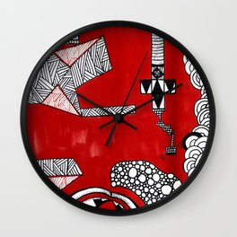 Red Abstract Composition Wall Clock