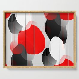 Modern Anxiety Abstract - Red, Black, Gray Serving Tray
