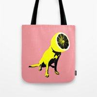 lemon Tote Bags featuring lemon by Ali GULEC