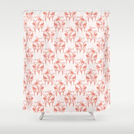 Peachy Living Coral Flower Blooms Shower Curtain