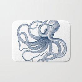 Blue nautical vintage octopus illustration Bath Mat