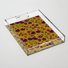 Purple and Gold Floral Seamless Illustration Acrylic Tray