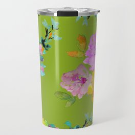 Bright Watercolor Floral Pattern Travel Mug