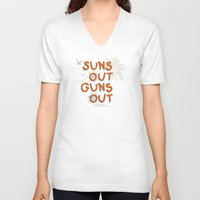 guns V-neck T-shirts featuring Guns Out by Free Specie