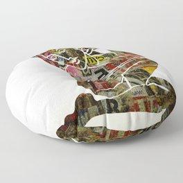 Graffiti Girl Modern Abstract Fine Art Nude Painting Pop ART Floor Pillow
