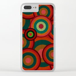 """Retro Colorful Circles"" Clear iPhone Case"