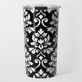 Feuille Damask Pattern White on Black Travel Mug
