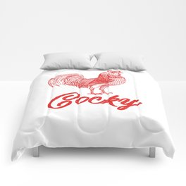 Cocky Big Red Rooster Humorous Print Comforters