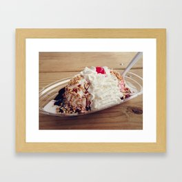 Ice cream sundae with chocolate ,peanuts and cherry Framed Art Print