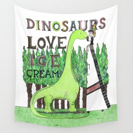 Dinosaurs Love Ice Cream Wall Tapestry