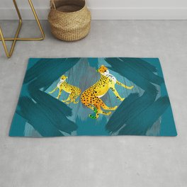 Panther Jungle Hideout Teal Rug