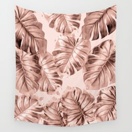 Rose Gold Monstera Leaves on Blush Pink 2 Wall Tapestry