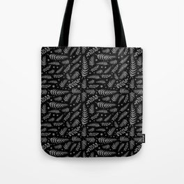 Black Leaf Pattern Tote Bag