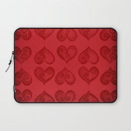 'Off With His Head Red Hearts Pattern' Wonderland styled design by Dark Decors Laptop Sleeve