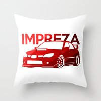 subaru Throw Pillows featuring Subaru Impreza 2006 - classic red - by Vehicle