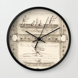 Vintage Print - Canoes of the Peoples of North America, from the Atlante Veneto (1692) Wall Clock