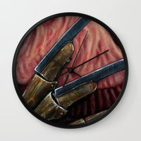 freddy krueger Wall Clocks featuring FREDDY KRUEGER by chris zombieking