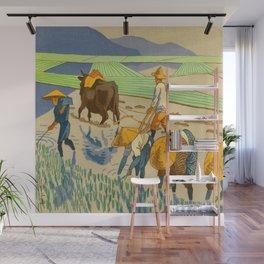 Asano Takeji Rice Transplantation Vintage Japanese Woodblock Print Asian Farmers Sedge Hat Wall Mural