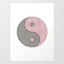 Yin Yang Esoteric Symbol Pastel Pink And Grey Art Print