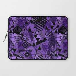 Abstract ethnic pattern in black, purple colors. Laptop Sleeve
